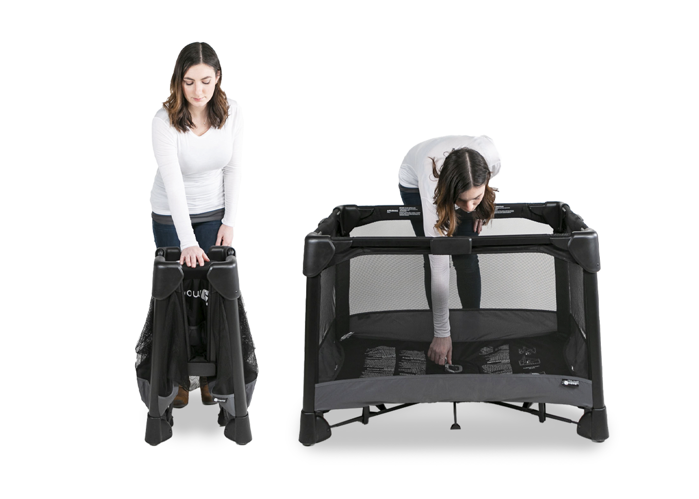 women moving and setting up portable playard