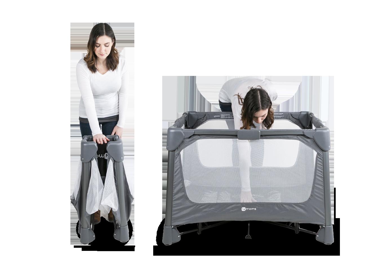 woman moving and setting up portable playard
